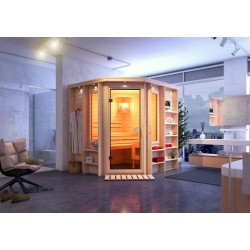 Karibu Sauna Cortona - 40 mm Premiumsauna - Eckeinstieg inkl. gratis Zubehörpaket