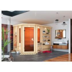 Karibu Sauna Riona - 40 mm Premiumsauna - Eckeinstieg - inkl. gratis Salz-Aufgusstopf