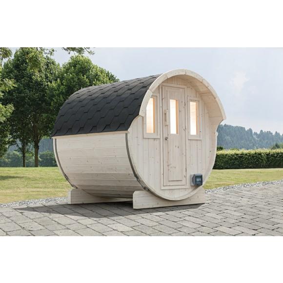 Wolff Finnhaus Saunafass 250 (Abb. inkl. Kamin - dieser ist beim Lieferumfang des Holzofens inkl. - als Zubehör erhältlich)