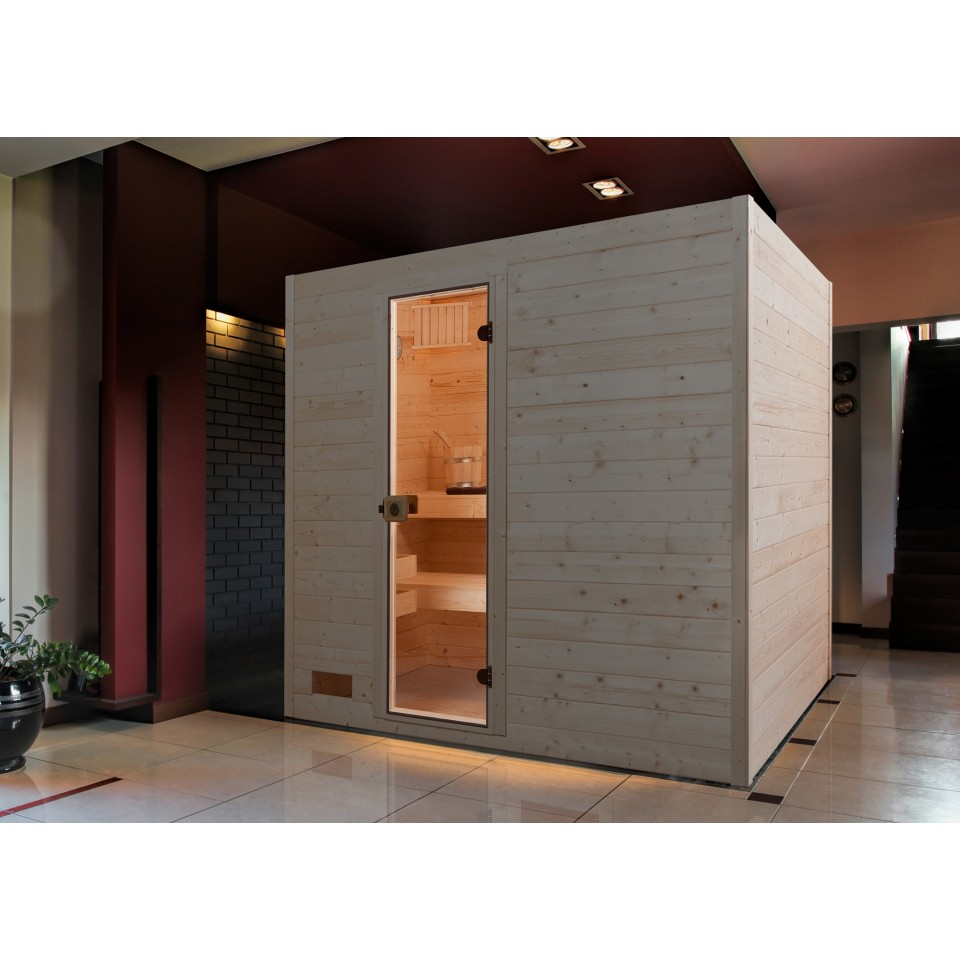 weka sauna 538 valida gr 4 mit glast r massivholzsauna 38 mm mein. Black Bedroom Furniture Sets. Home Design Ideas