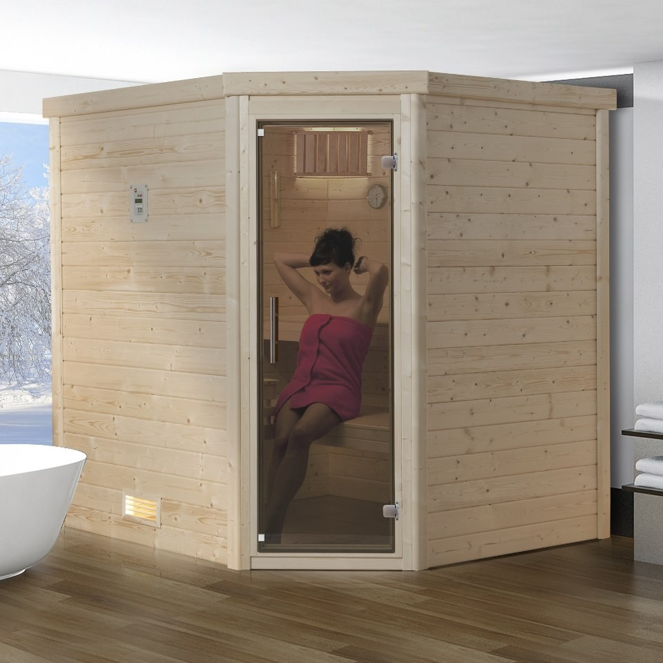 weka sauna lahti massivholzsauna 45 mm mit fronteinstieg mein. Black Bedroom Furniture Sets. Home Design Ideas