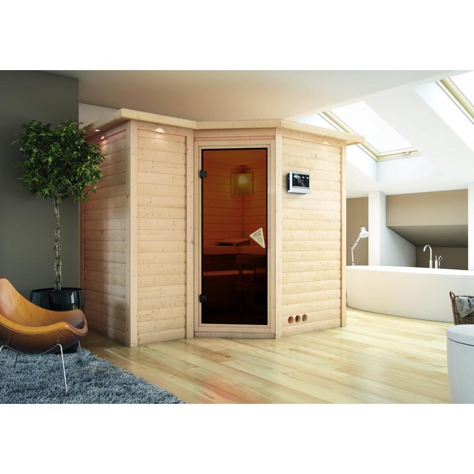 karibu sauna sahib 2 massivholzsauna 40mm eckeinstieg exklusivoptik mein. Black Bedroom Furniture Sets. Home Design Ideas