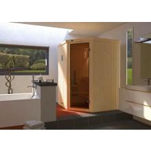 Weka Sauna Kiruna 1 mit Glastür und Eckeinstieg 230 V - 68 mm inkl. gratis Sternenhimmel