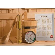 Weka Sauna Starter Set inkl. Saunaleuchte, Anschlusskabel, Aufgusskübel, Schöpfkelle, Klimamesser, Sanduhr, Sauna-Baderegeln