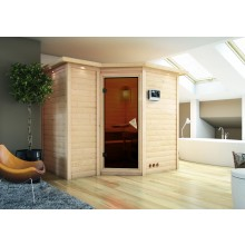 Karibu Sauna Sahib 2-Massivholzsauna 40mm -Eckeinstieg - Exklusivoptik inkl. gratis Zubehörpaket