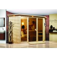 Karibu Sauna Flora 2 mit Fronteinstieg 68 mm inkl. gratis Zubehörpaket