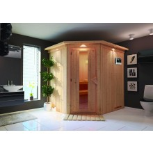 Karibu Sauna Siirin mit Eckeinstieg 68 mm inkl. gratis Zubehörpaket