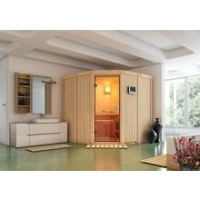 Karibu Sauna Simara 1 mit Eckeinstieg 68 mm inkl. gratis Zubehörpaket