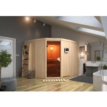 Karibu Sauna Simara 3 mit Eckeinstieg 68 mm inkl. gratis Zubehörpaket