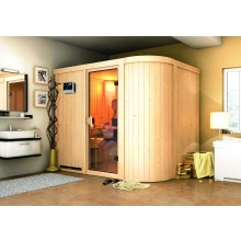Karibu Sauna Titania 4 mit Fronteinstieg 68 mm inkl. gratis Zubehörpaket