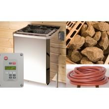 Weka Saunaofen-Set 5 inkl. 7,5 kW BioAktiv Ofen mit Dampfbad-Funktion, Anschlusskabel, Saunasteine, Steuergerät