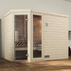 Weka Sauna Turku 2 - Massivholzsauna 45 mm mit Eckeinstieg
