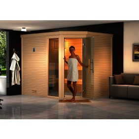 Weka Premium Massivholzsauna Cubilis 1 mit Glastür+Fenster inkl. Montageservice