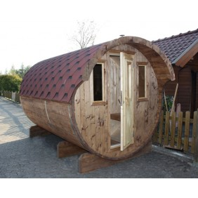 Wolff Finnhaus Saunafass Fasssauna 330 (2-Raum) mit Vorraum Anstrich nussbaum Dachschindeln rot