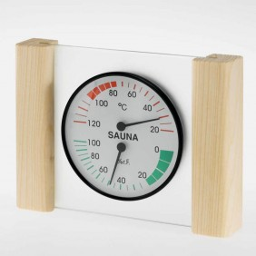 Klimamesser mit Glas- Holzrahmen in Fichte