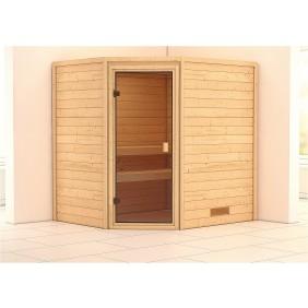 Karibu Woodfeeling Sauna Mia inkl. bronzierter Ganzglastür