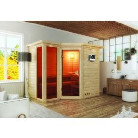 Karibu Sauna Amara-Massivholzsauna 40mm -Eckeinstieg - Sparset
