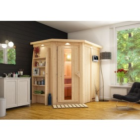 Karibu Sauna Carin mit Eckeinstieg 68 mm