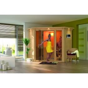 Karibu Sauna Flora 1 mit Eckeinstieg 68 mm - Sparset