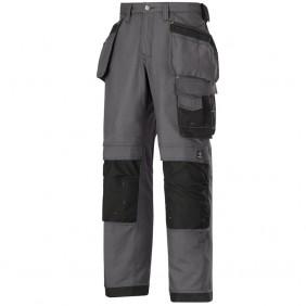 Snickers Workwear 3214 Arbeitshose Canvas+™ mit Holstertaschen, Stahlgrau-Schwarz
