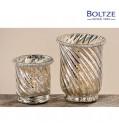 Boltze Windlicht DION 2-tlg. Set silber Ø 9-11 cm