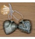 Boltze Hänger CRACKLE Herz 2-tlg. Set in Silber lackiert
