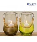 Boltze Windlicht BOANO 2-tlg. Set in Schwarz und Grün