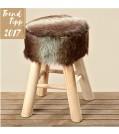 Boltze Hocker MILAN aus Holz und Textil