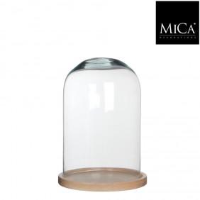 MICA Glasglocke / Glosch HELLA mit Naturholzteller Ø 21,5 cm