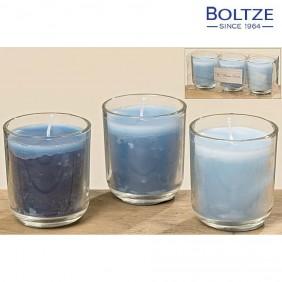 Boltze Kerzentopf 3-tlg. Set blau Höhe 6,5 cm