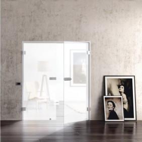 GRIFFWERK Ganzglasdrehtüre SNOWWHITE 501 keramischer Siebdruck- ESG Glas