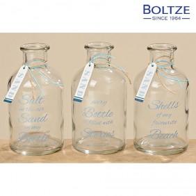 Boltze Flasche SAND klar Höhe 13 cm 3-tlg