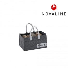 NOVALINE Holztragetasche Filz-Optik in Dunkelgrau