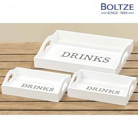 Boltze Deko-Tablett weiss 2-tlg. Set