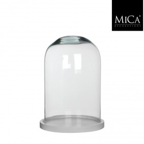 MICA Glasglocke / Glosch HELLA mit weißen Holzteller Ø 21,5 cm