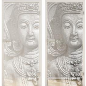 """GRIFFWERK Ganzglastüre PHOTO LD 677 """"Buddha"""" ESG - Laserdekor"""