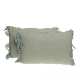 Kaemingk Kissen-Set AQUA mit Fransen  aus100% Baumwolle -2-tlg.