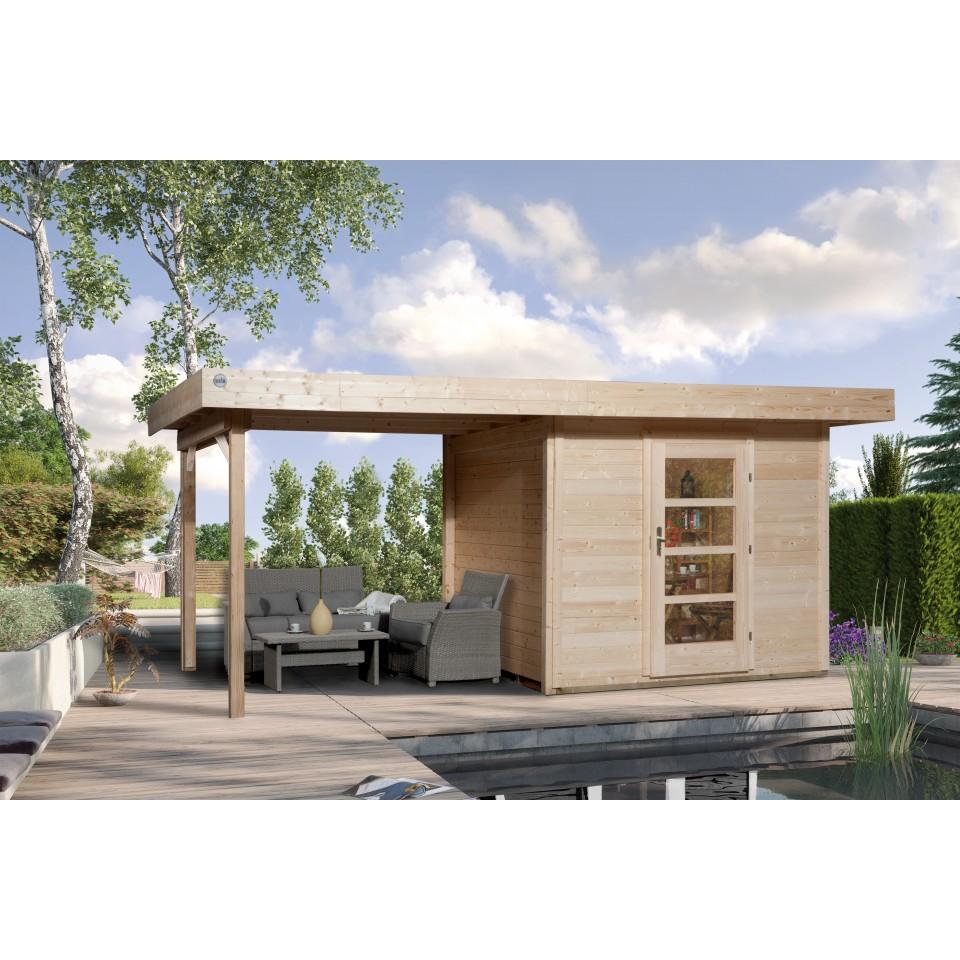weka designhaus 172 a mit anbau 150 cm 28 mm mein. Black Bedroom Furniture Sets. Home Design Ideas