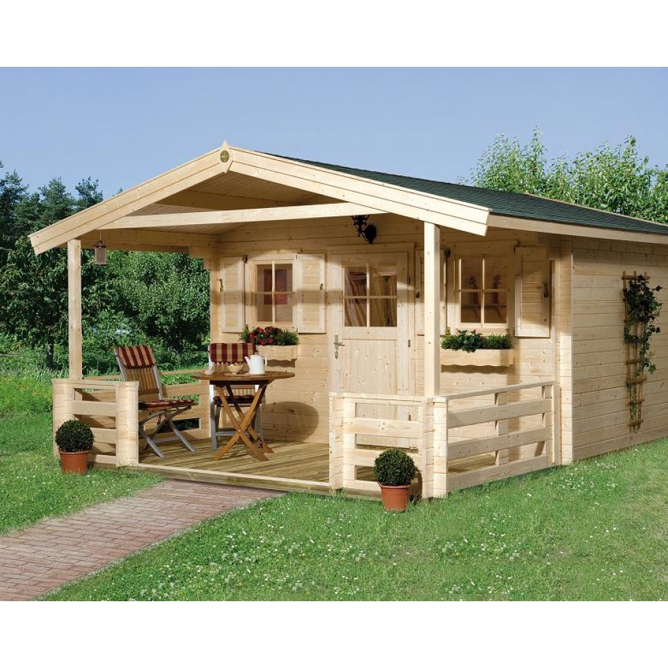 weka 28 mm gartenhaus 110 mit vordach terrasse 200 cm. Black Bedroom Furniture Sets. Home Design Ideas