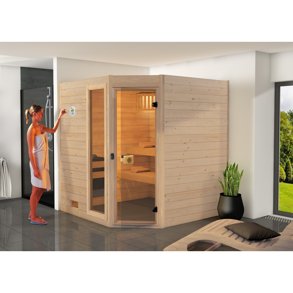 weka sauna 539 valida eck gr 2 mit glast r fenster massivholzsauna 38 mm mein. Black Bedroom Furniture Sets. Home Design Ideas