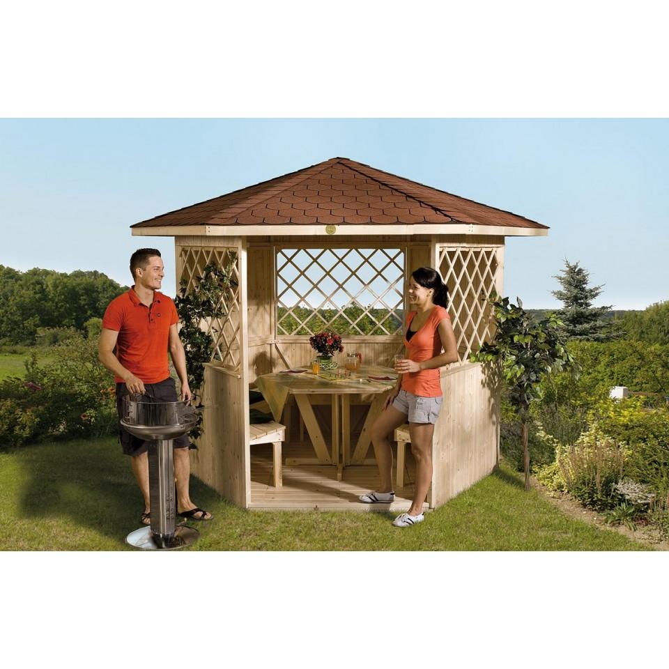 weka pavillon 6 eck pavillon 233 mein. Black Bedroom Furniture Sets. Home Design Ideas
