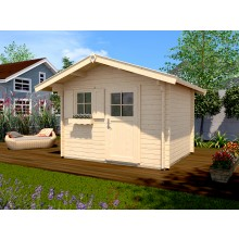 Weka 45 mm Gartenhaus 131 300 x 250 cm mit Vordach (60 cm) - Sparset inkl. Schindeln