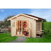 Weka Gartenhaus Premium45 mit Vordach (20 cm) - Sparset inkl. Schindeln