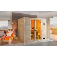 Weka Sauna Valida Plus mit Glastür/Fenster/9 kW Ofen - Sparset inkl. gratis Zubehörset