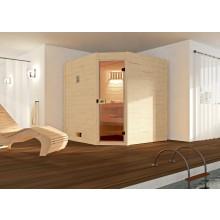 Weka Sauna 539 / Valida Eck Gr. 2 mit Glastür - Massivholzsauna 38 mm mit Eckeinstieg