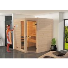 Weka Sauna Valida Eck Gr. 2 mit Glastür+Fenster - Massivholzsauna 38 mm inkl. gratis Edelstahl-Set