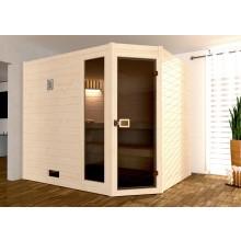 Weka Sauna 539 / Valida Eck Gr. 3 mit Glastür+Fenster - Massivholzsauna 38 mm mit Eckeinstieg inkl. gratis Sternenhimmel