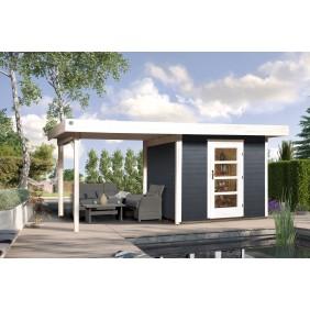 Weka Blockbohlenhaus Lounge 3 anthrazit
