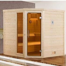 Weka Sauna Lahti - Massivholzsauna 45 mm mit Eckeinstieg