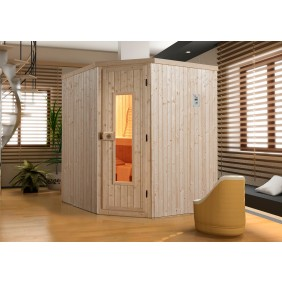 Weka Sauna Kiruna 2 mit Holztür und Eckeinstieg 230 V - 68 mm
